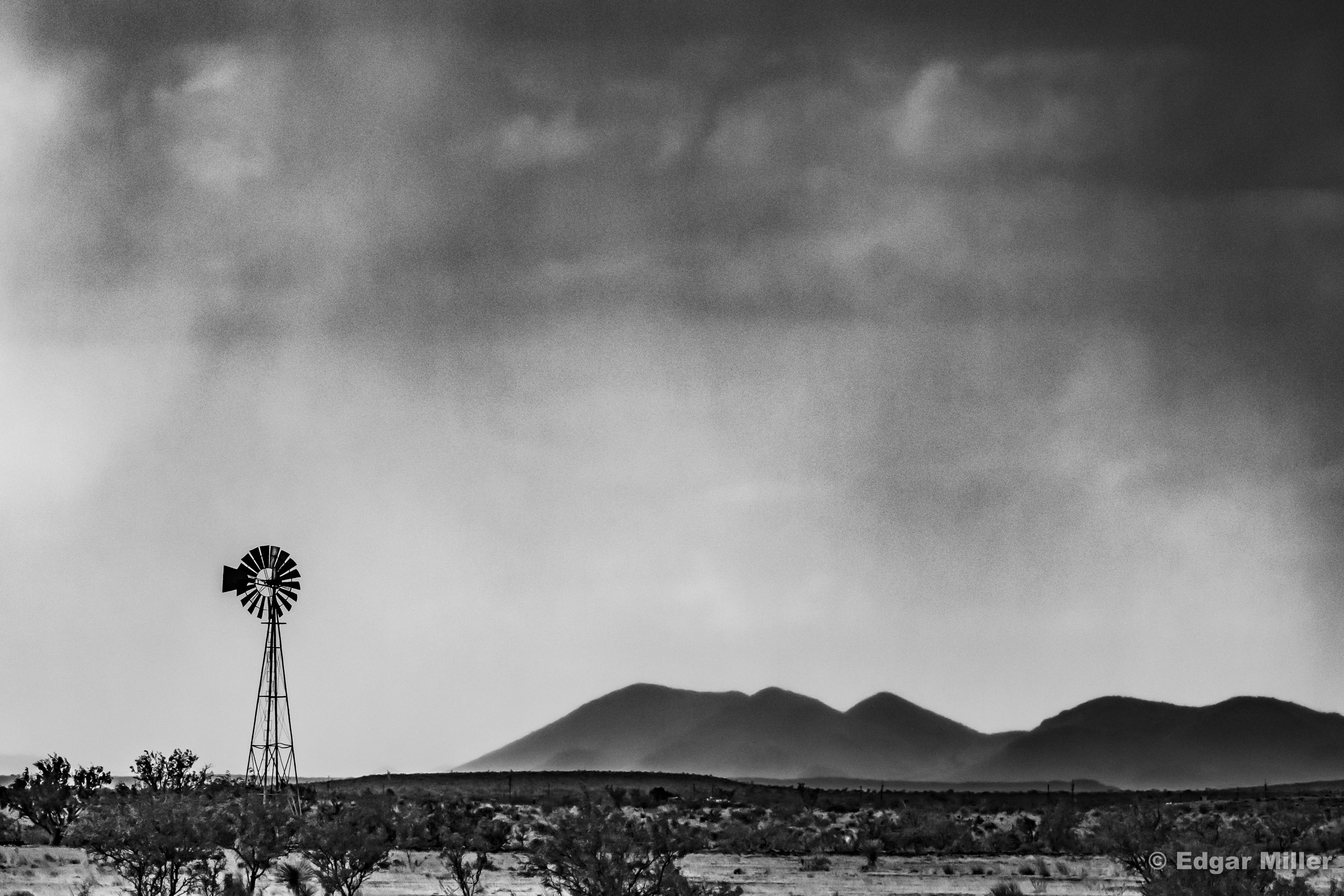 Rain, Windmill & Mountains, West Texas