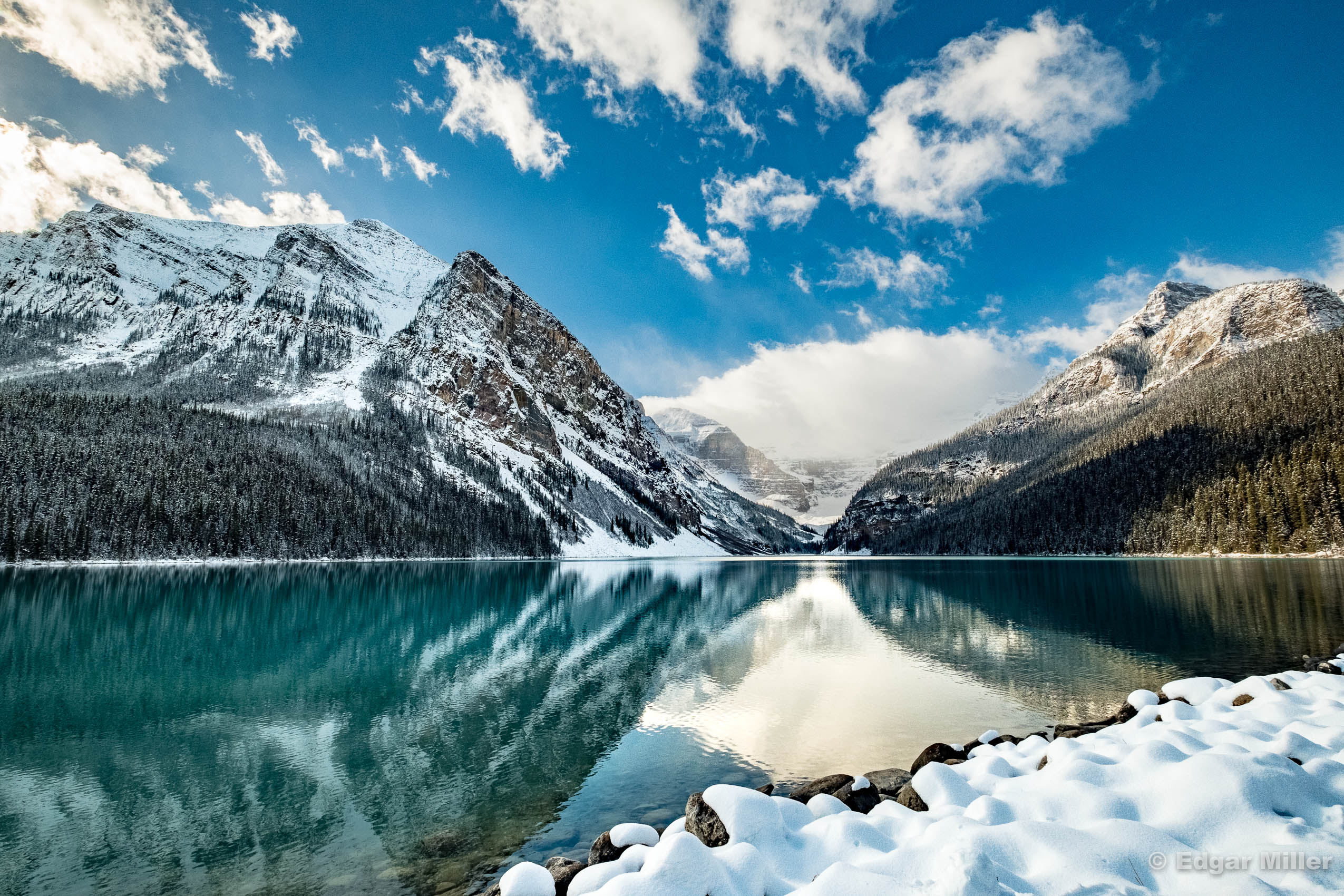 Snow on Lake Louise