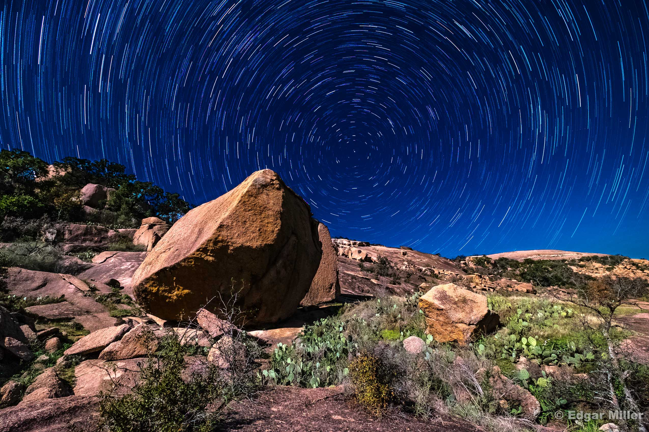 Moon Light on Enchanted Rock