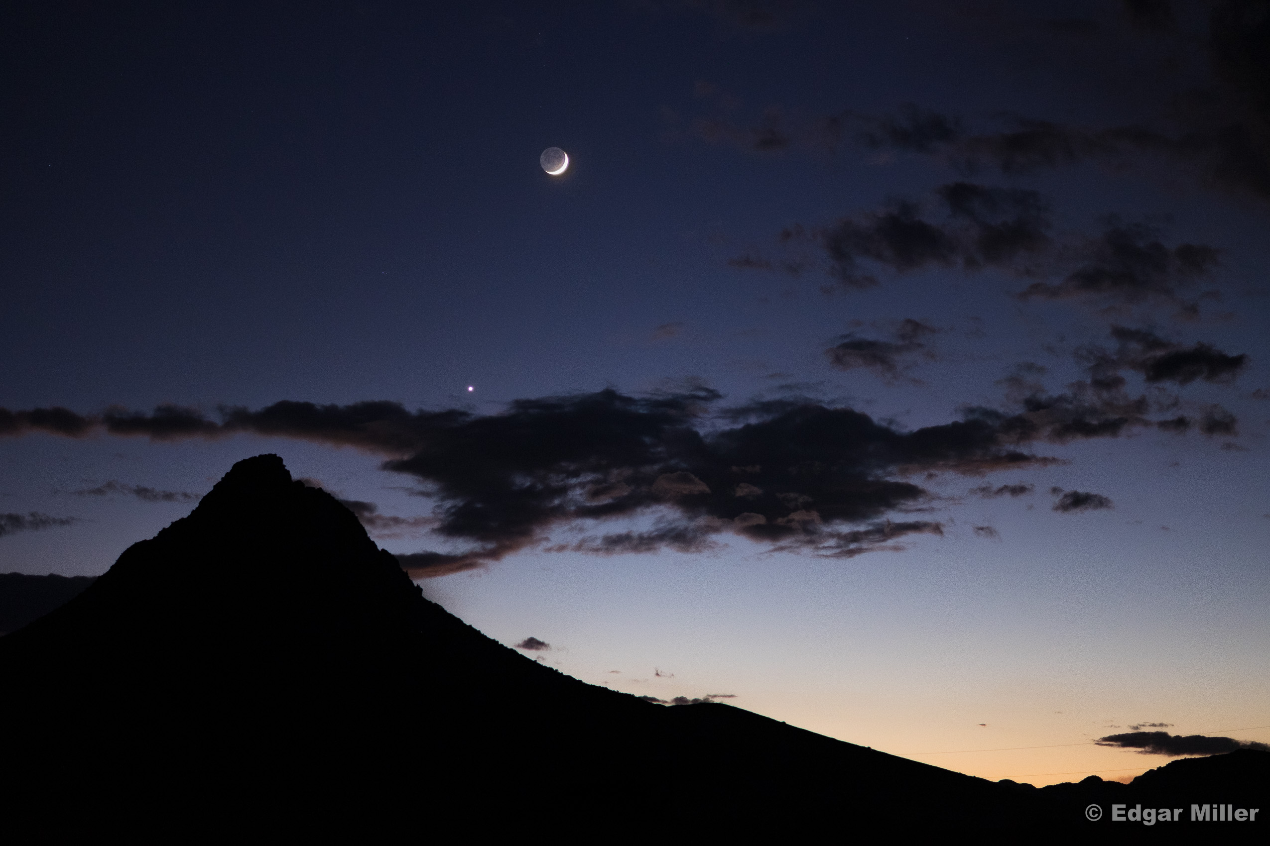 Moon, Venus & Mitre Peak, West Texas